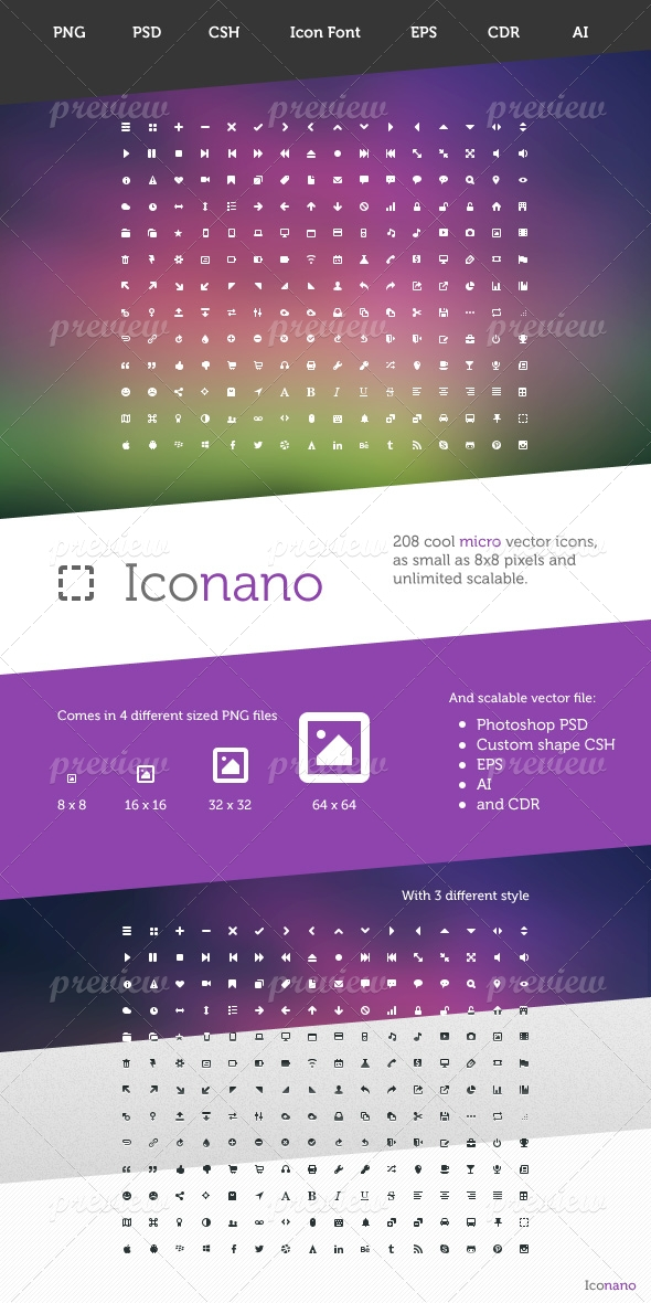 Iconano - 208 Micro Vector Icons
