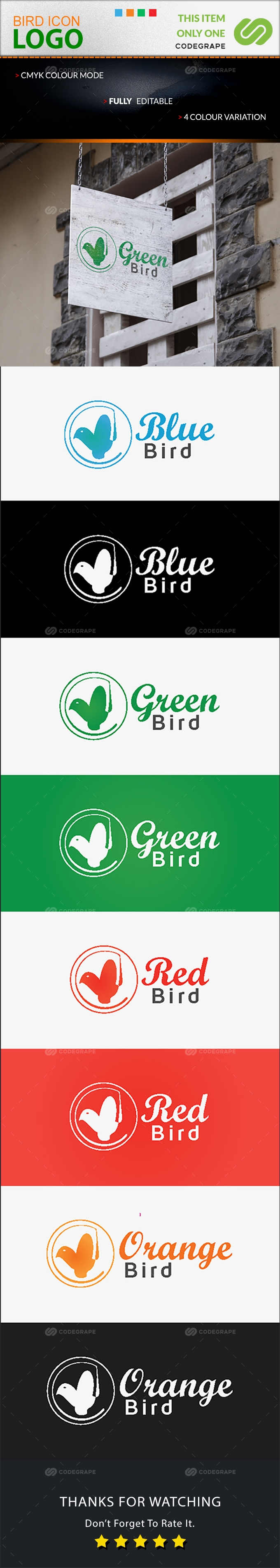 Creative Bird Icon Logo Design