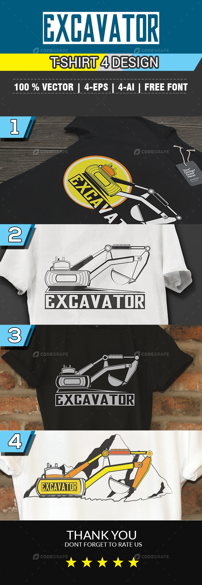 Excavator T-Shirt 4 Design Styles