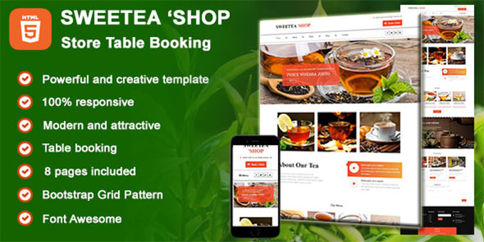 Sweetea Store - Table Booking HTML Template