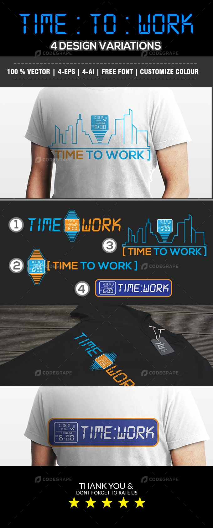 Time To Work T-Shirt 4 Design Workaholic