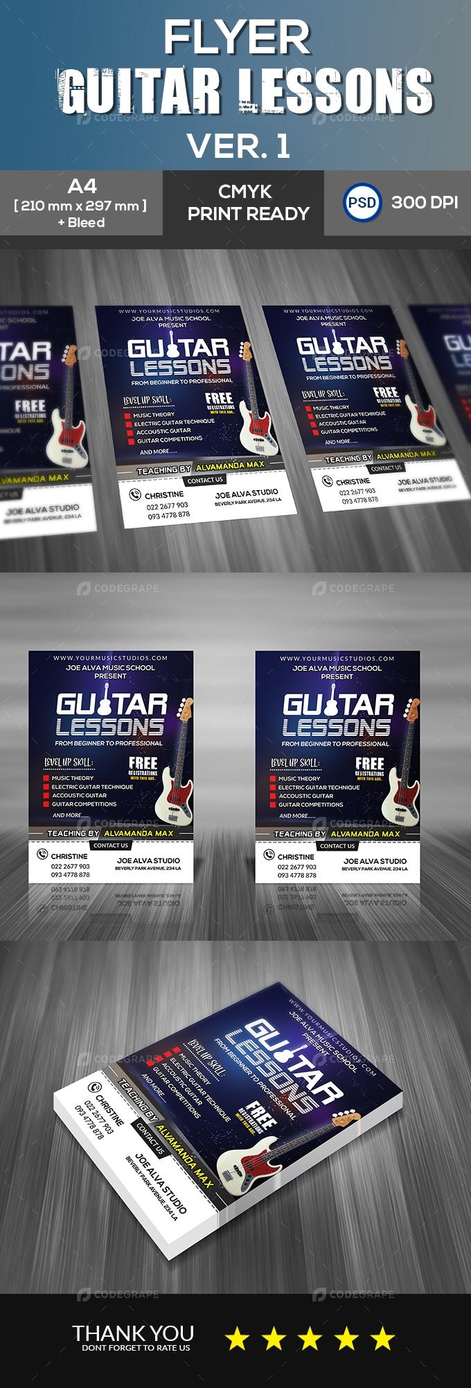 Guitar Lessons v1 Flyer