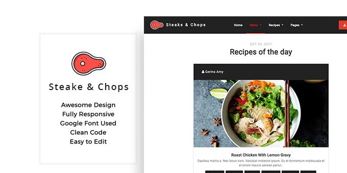 Steaks & Chops - Recipes Template