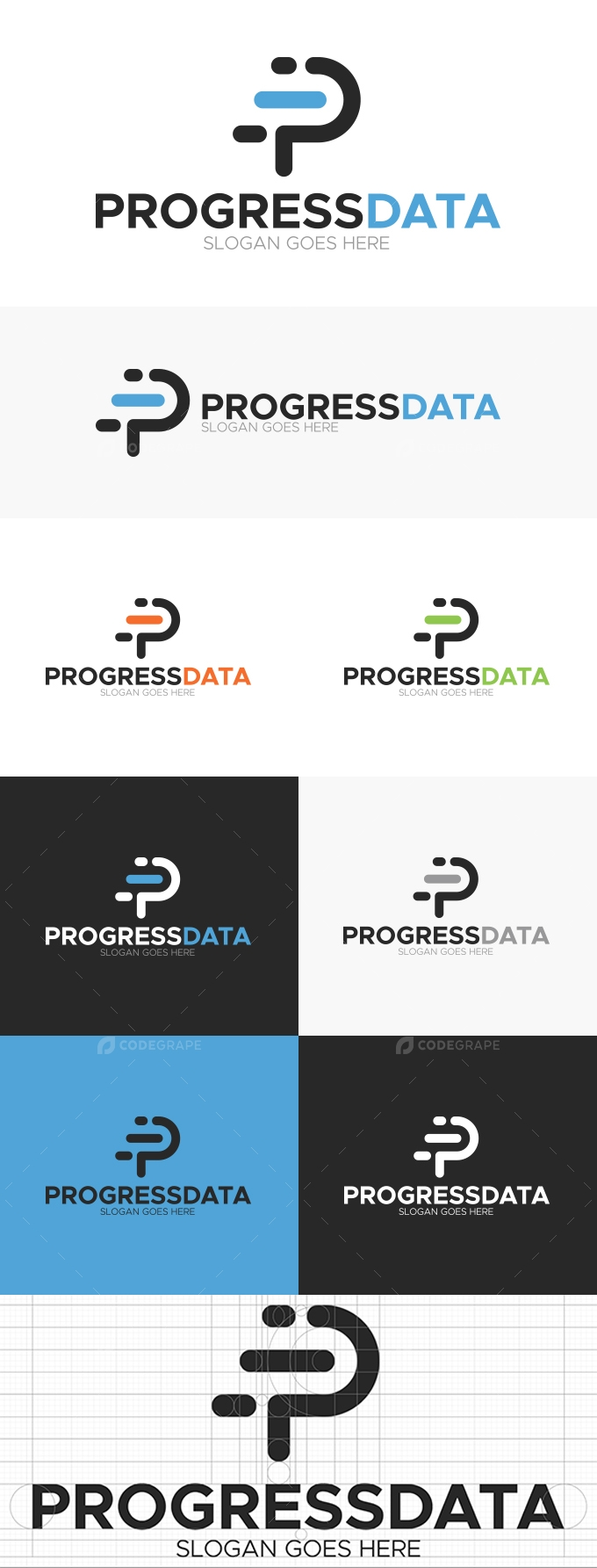 Letter P-Progress Data Logo