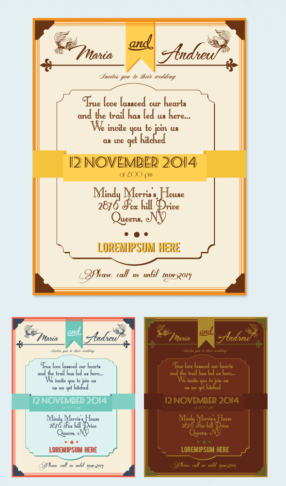 Vintage Wedding Invitations Pack