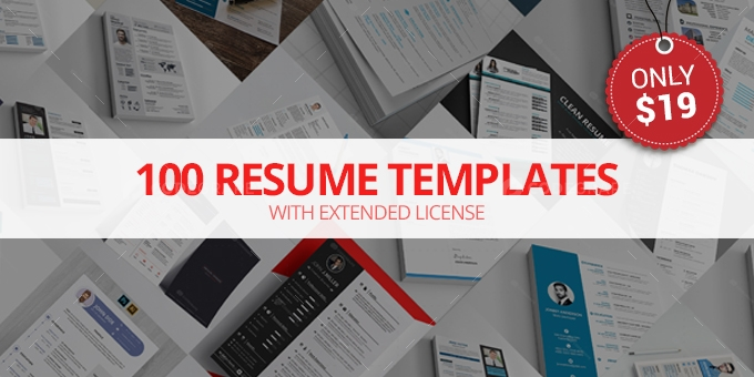 100 Resume Templates with Extended License - Only $19