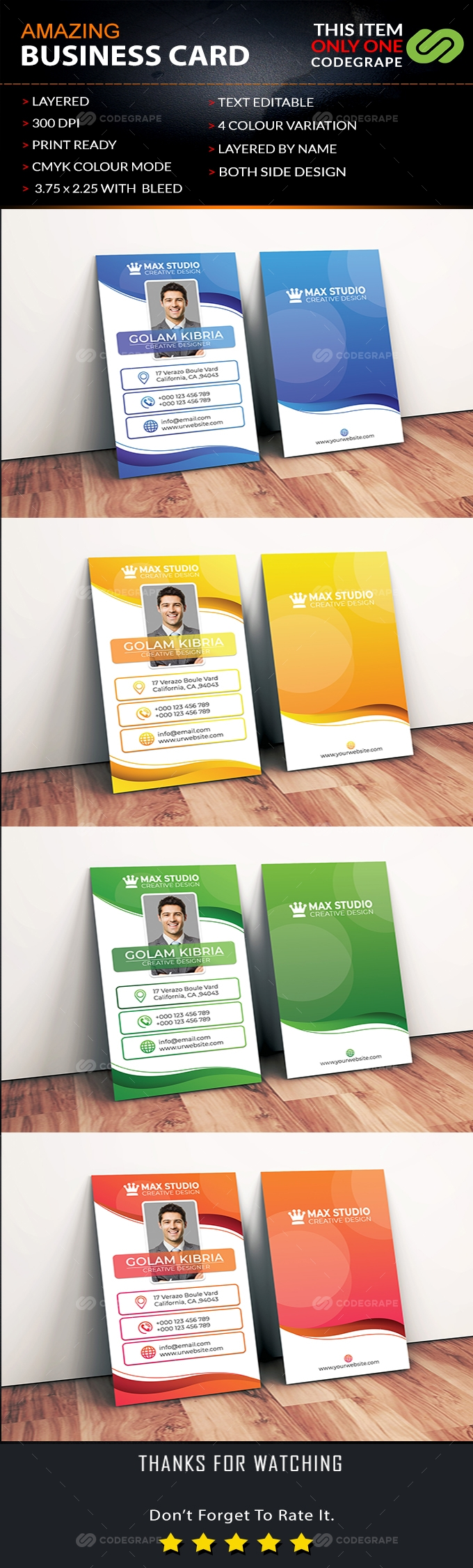 Amazing Vertical Business Card