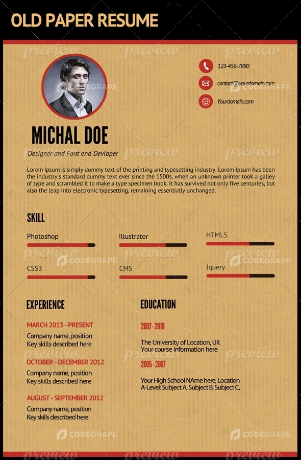 old paper resume