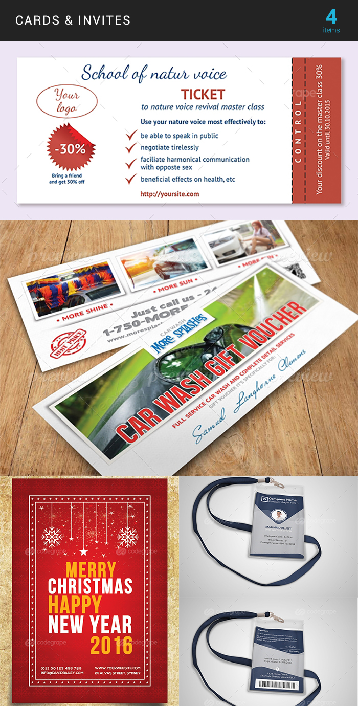 Elegant Print Templates Bundle with 100 Items - Only $19 - card invite