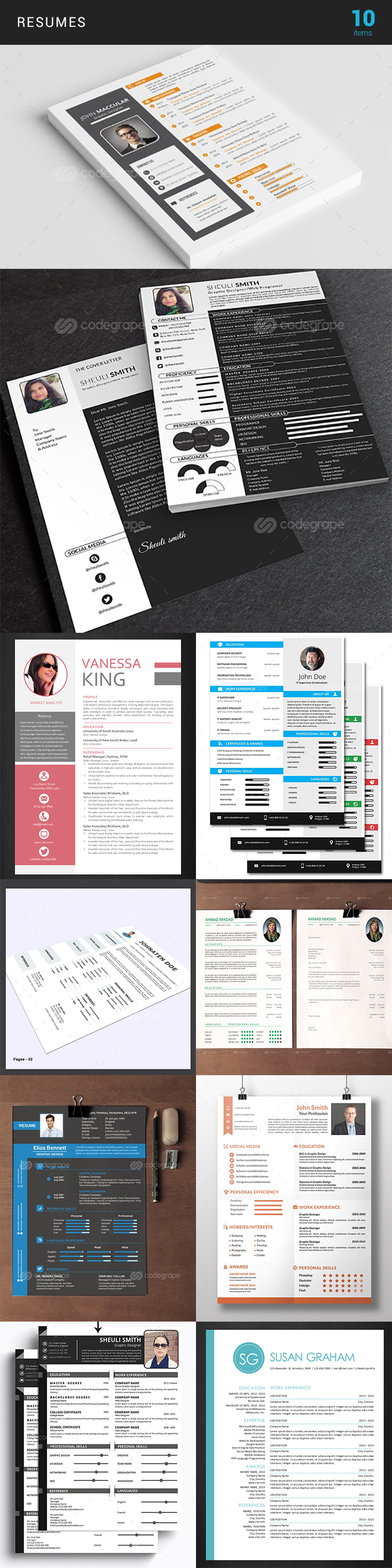 Elegant Print Templates Bundle with 100 Items - Only $19 - resume