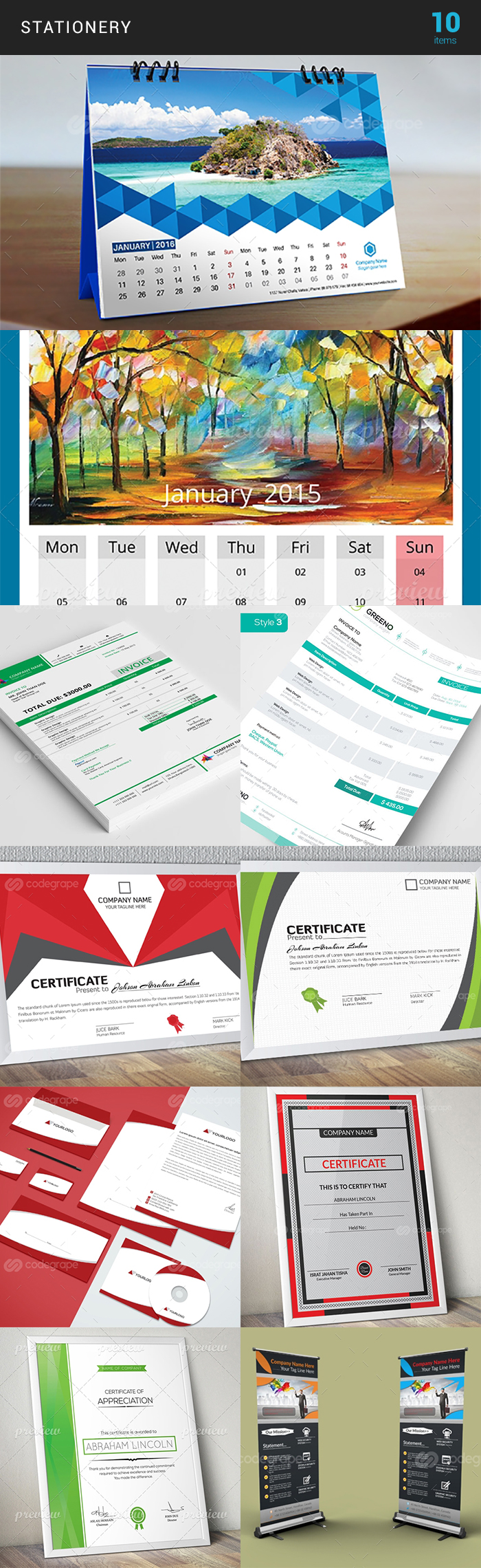 Elegant Print Templates Bundle with 100 Items - Only $19 - stationery