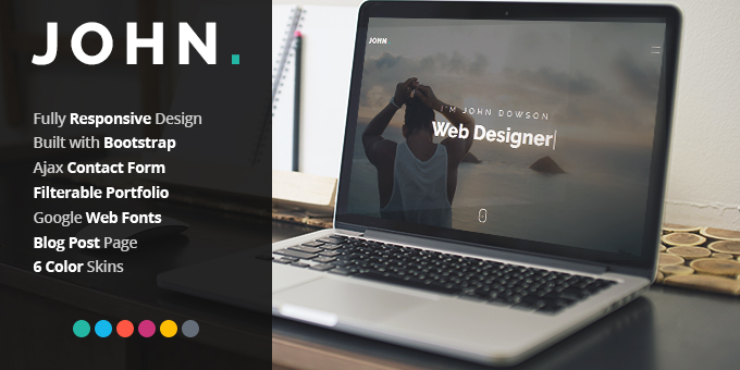 Essential Web Design Bundle with Extended License - Only $29 - codegrape 17136 john personal portfolio theme