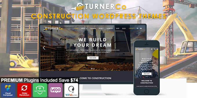 Essential Web Design Bundle with Extended License - Only $29 - codegrape 18489 turner construction architecture wordpress theme
