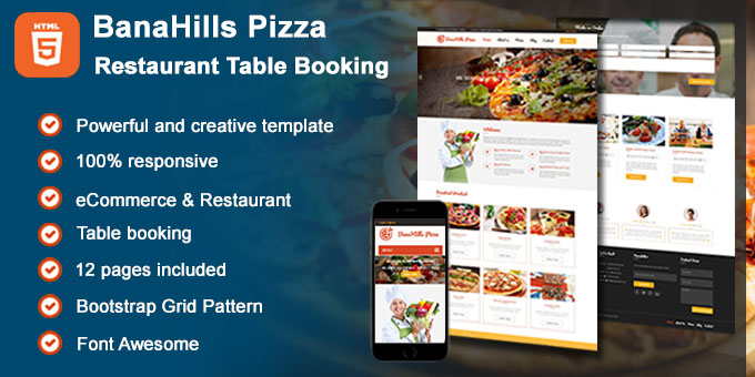 Essential Web Design Bundle with Extended License - Only $29 - codegrape 19020 banahills pizza restaurant table booking html template