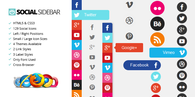Essential Web Design Bundle with Extended License - Only $29 - codegrape 2843 social sidebar