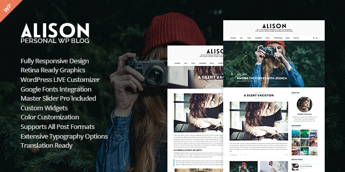 Essential Web Design Bundle with Extended License - Only $29 - codegrape 8151 alison personal blog wordpress theme
