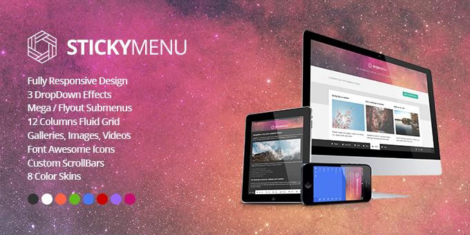 Essential Web Design Bundle with Extended License - Only $29 - codegrape 8611 stickymenu responsive mega footer navigation